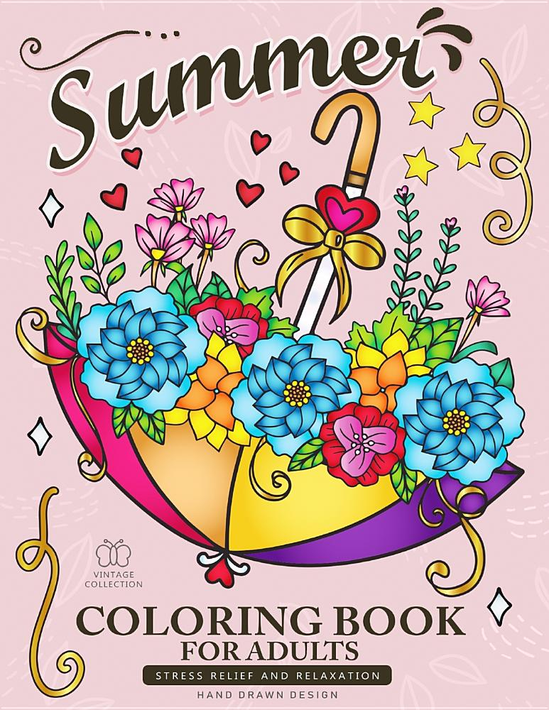 Summer Coloring Book For Adults Beach Scenes Ocean Life Flowers And Animals Stress Relieving Designs